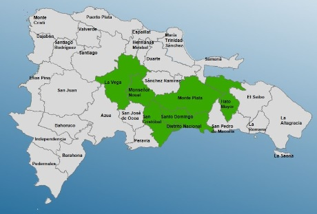 Cinco provincias y el Gran Santo Domingo en alerta verde por vaguada