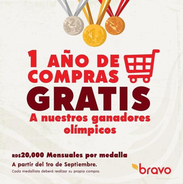"""""""1 año de compras gratis"""", el regalo de Supermercados Bravo a medallistas olímpicos"""